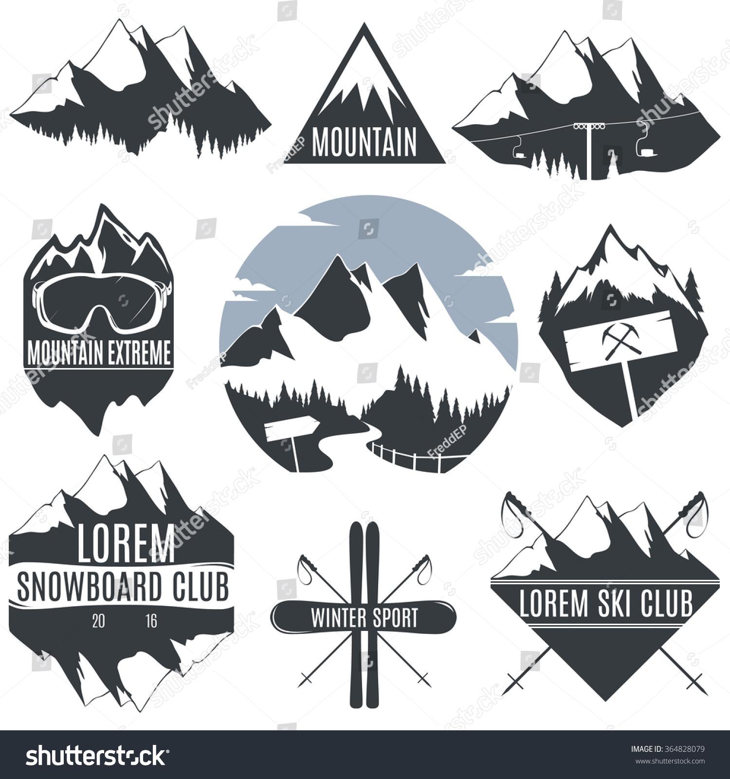 Set Vintage Logos Mountains Skiing Snowboard Stock Vector