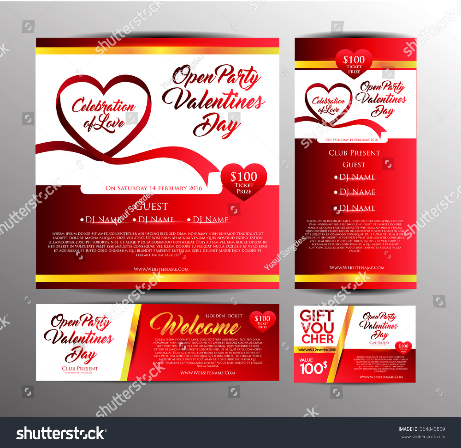 Valentines Day Party Invitation Card Golden Stock Vector (Royalty ...