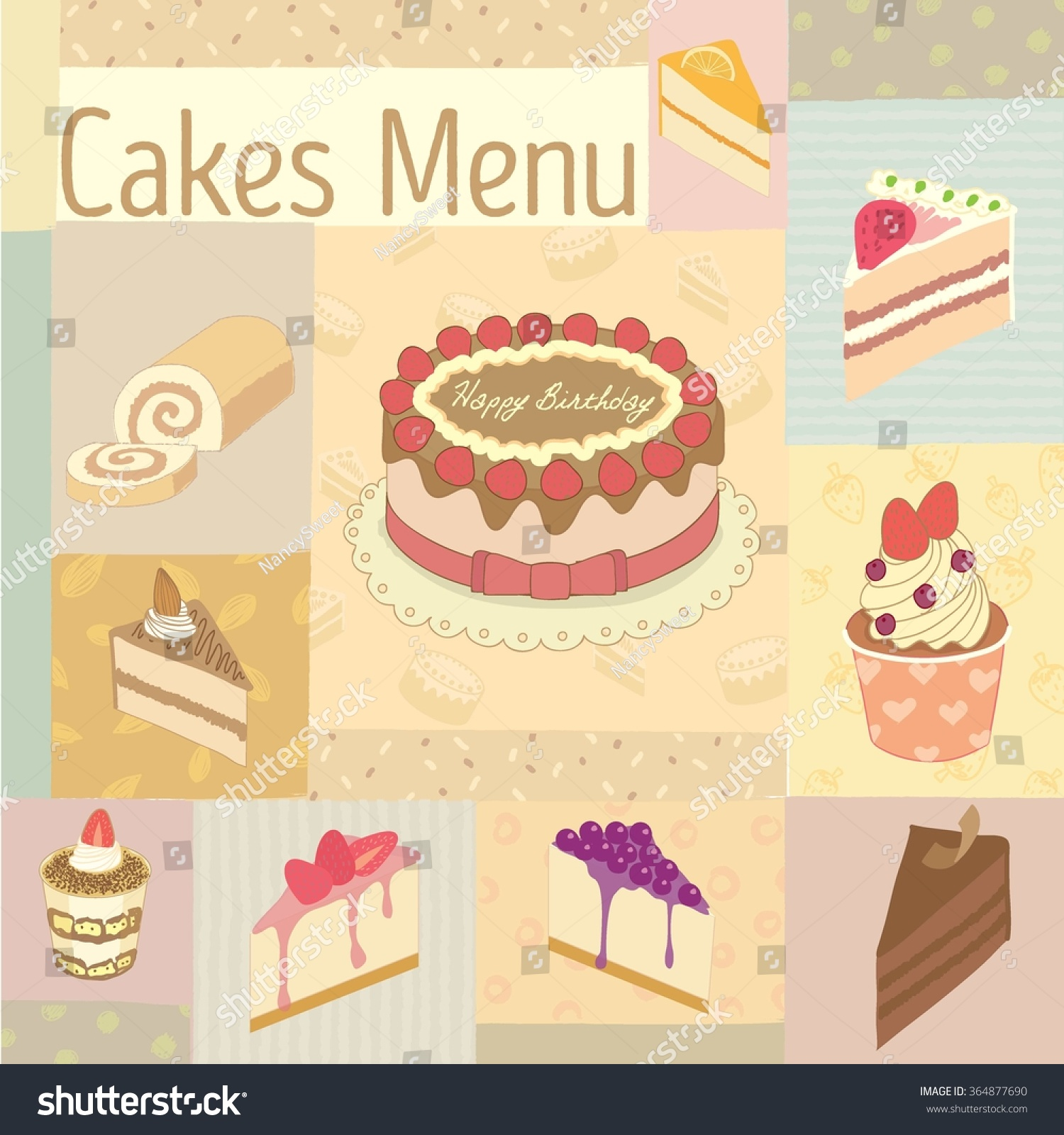 vector drawing cakes menu bakery cafevintage stock vector