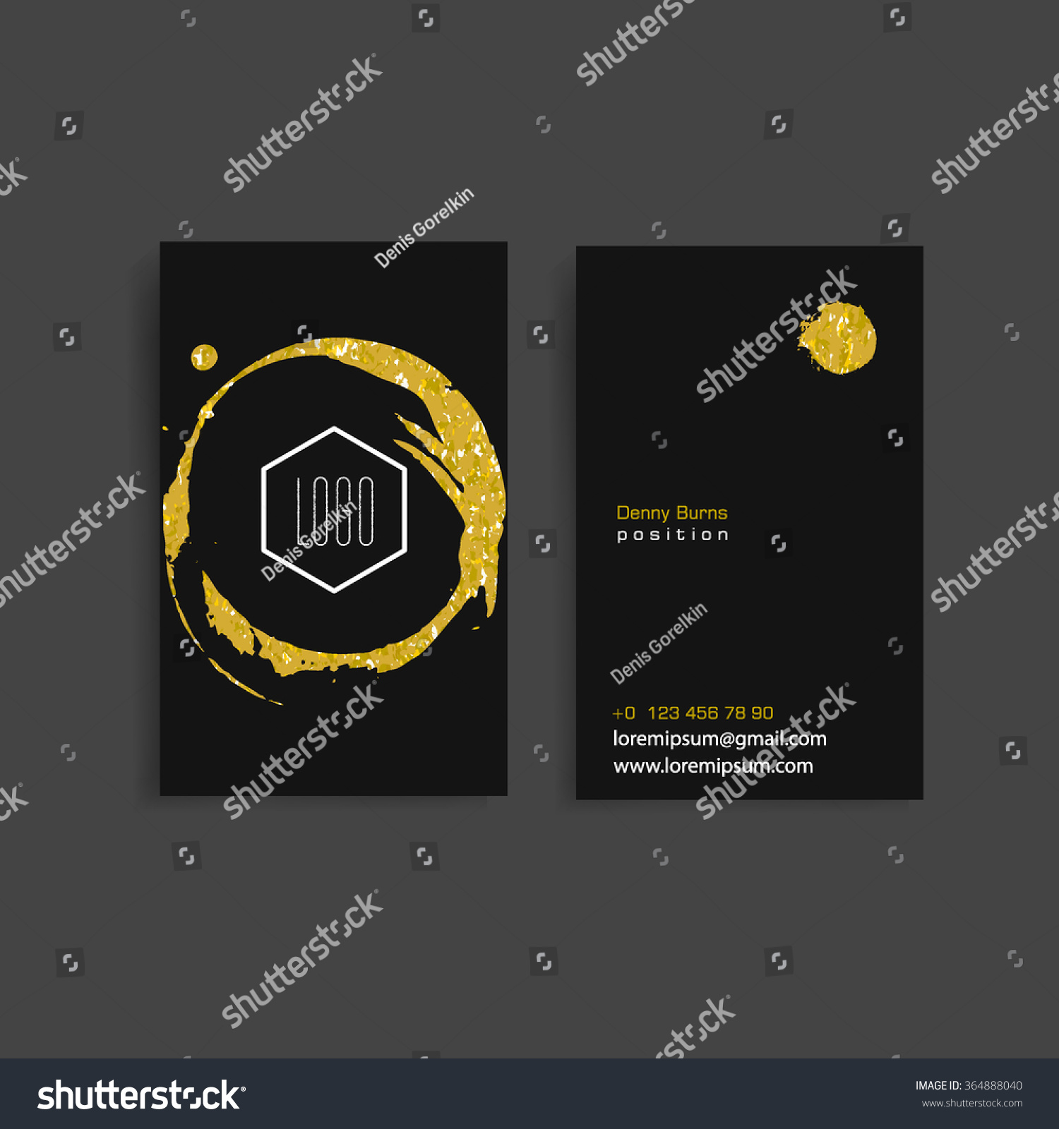 Black Business Card Template Gold Grime Stock Vector 364888040 ...