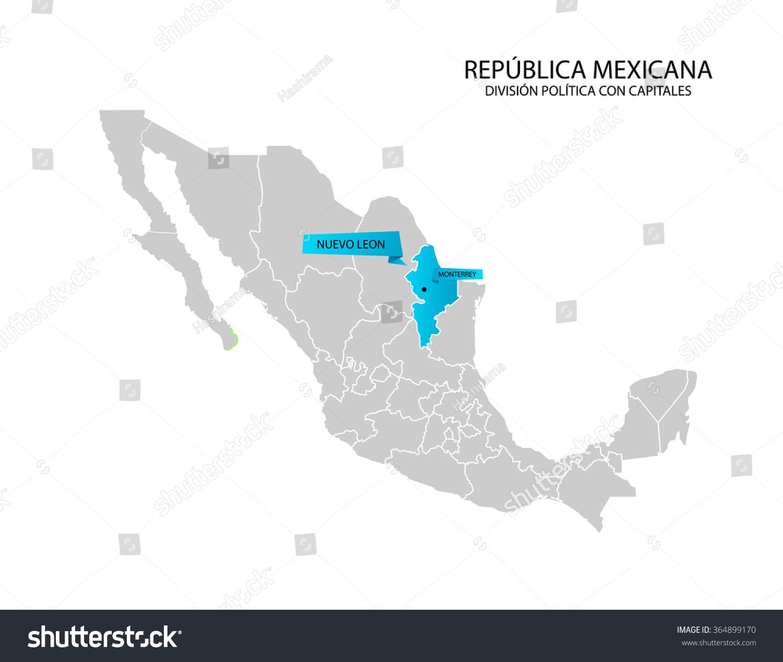 Mexico Map Estado De Nuevo Leon Stock Vector Royalty Free