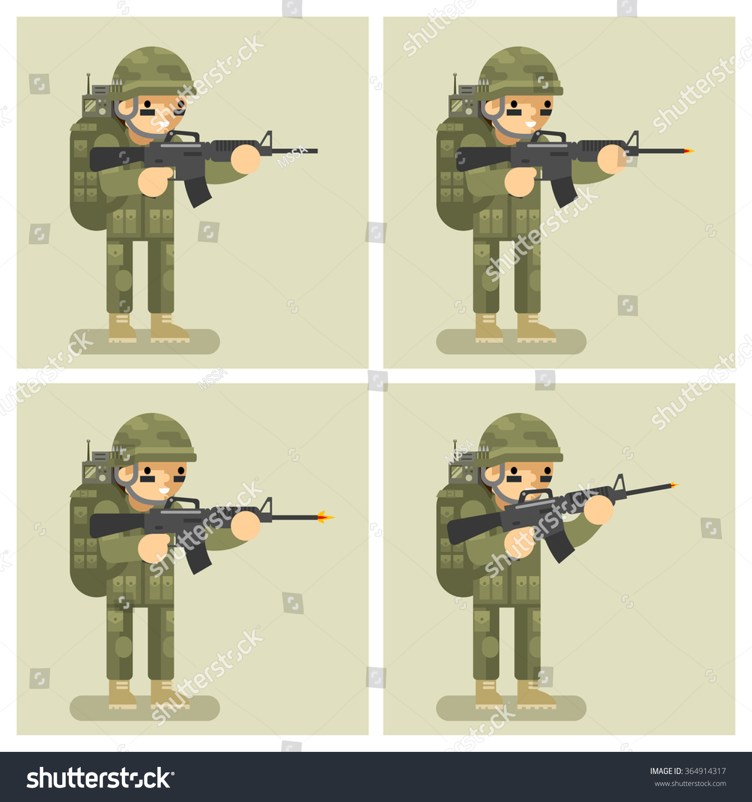 Royalty-free Soldier flat design animation frames… #364914317 Stock ...