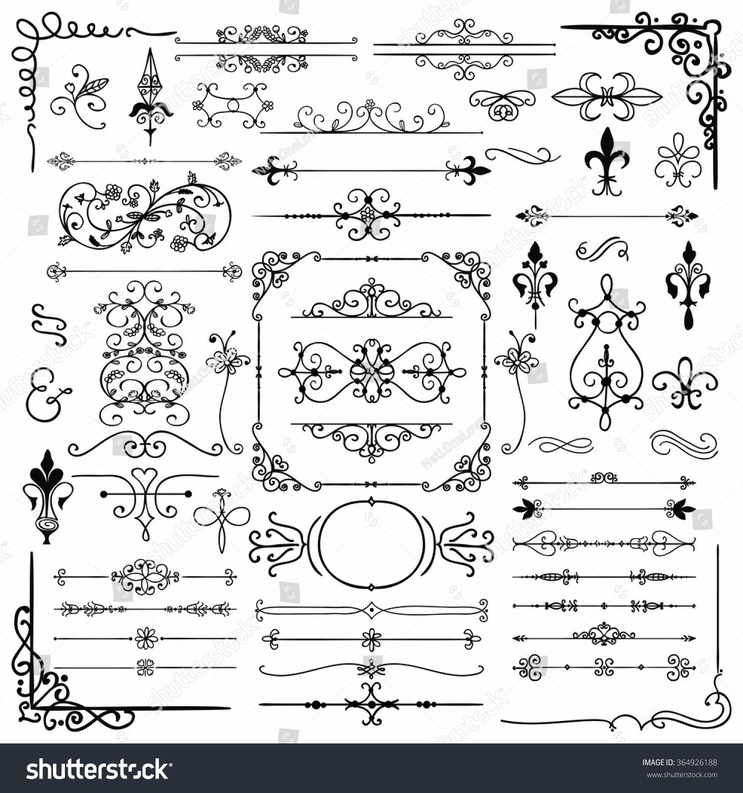 Black Hand Drawn Sketched Decorative Doodle Design Elements Frames Text Frames Dividers Borders Corners Swirls Scrolls Vector Illustration