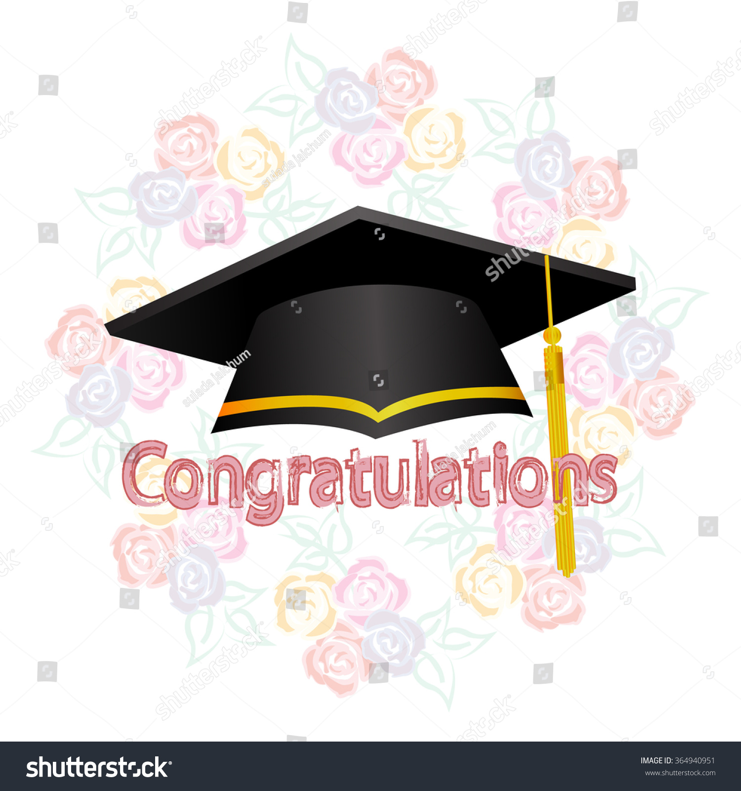 Graduation Ceremony Hat On Rose Flowers Stock Vector Royalty Free