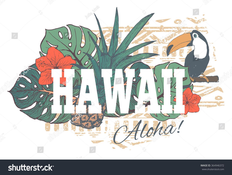 T shirt design hawaii - Vintage Tropical Exotic Hawaii Print For T Shirt With Slogan