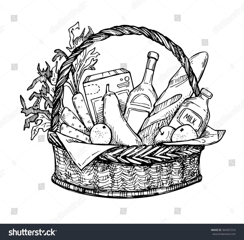 Organic Food Supermarket Logo: Hand Drawn Vector Illustration Supermarket Shopping Stock