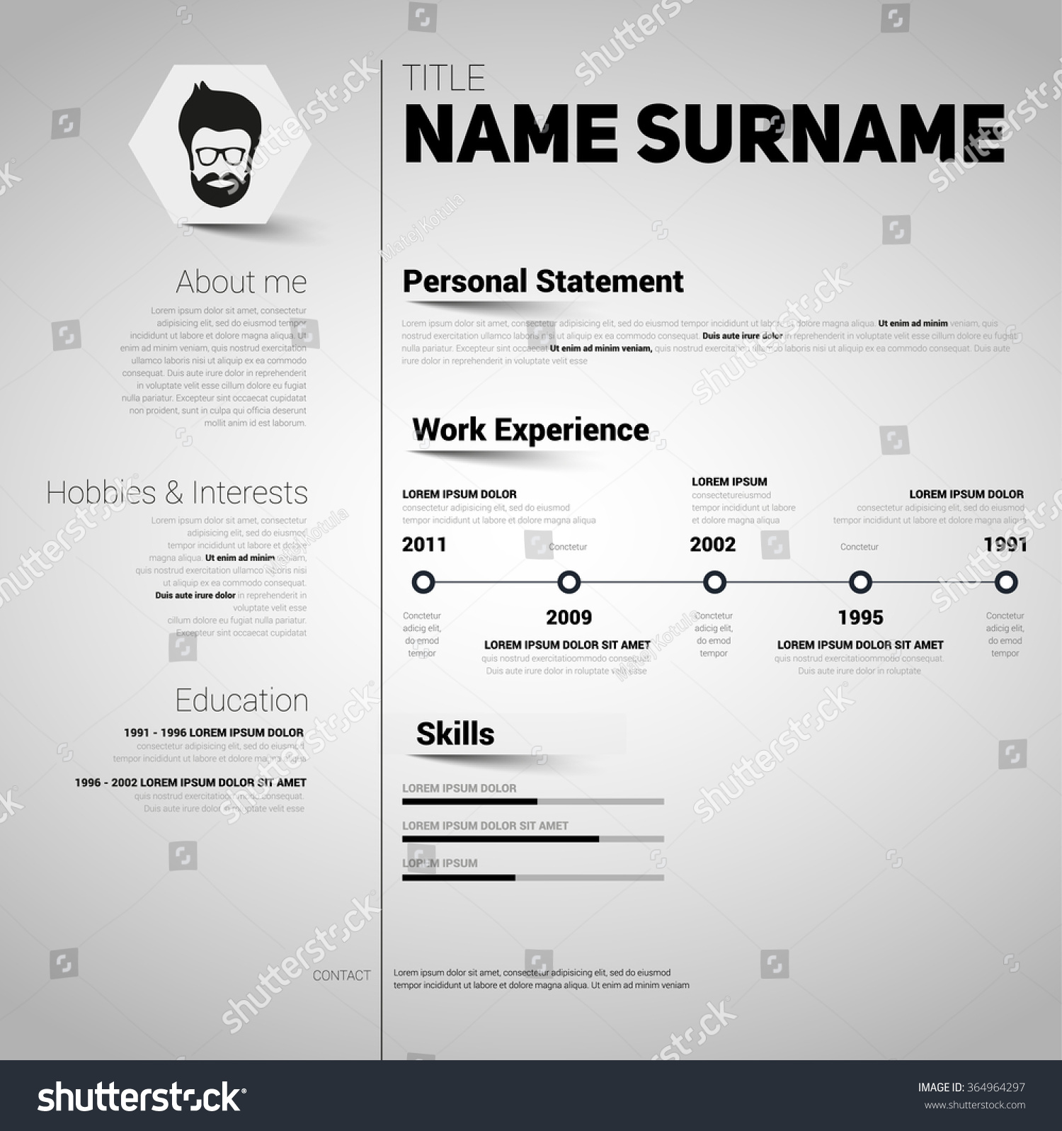 Minimalist Cv Resume Template Simple Design Stock Vector