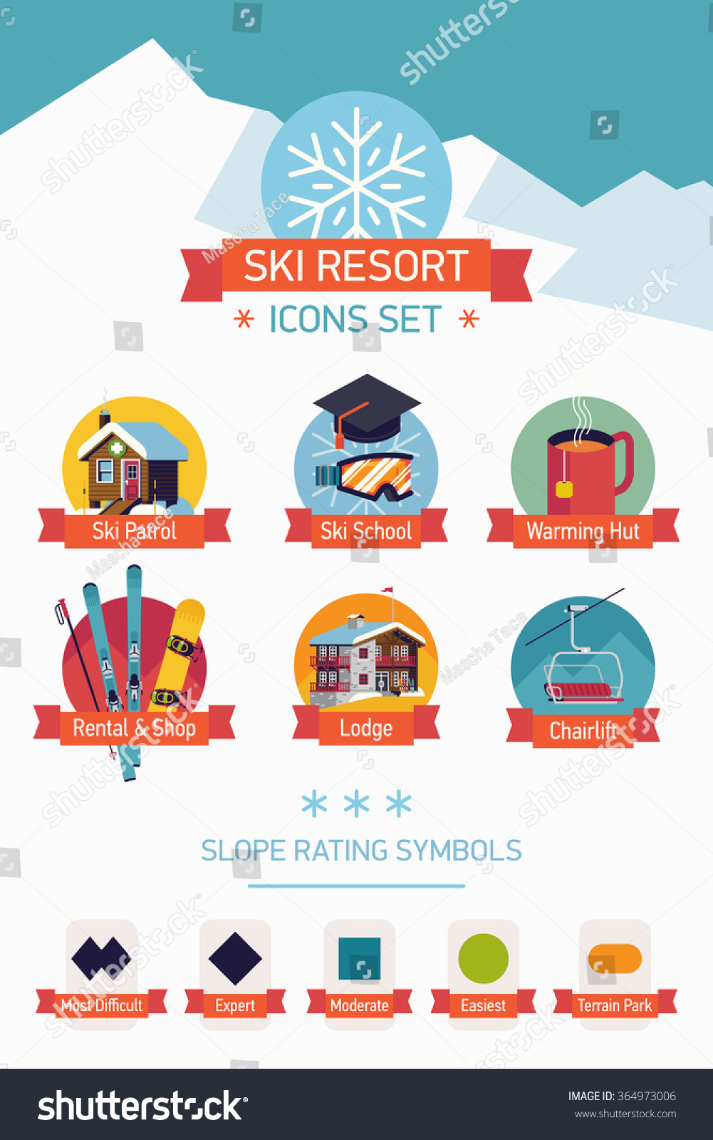 Cool Vector Ski Resort Map Legend Stock Vector Royalty Free