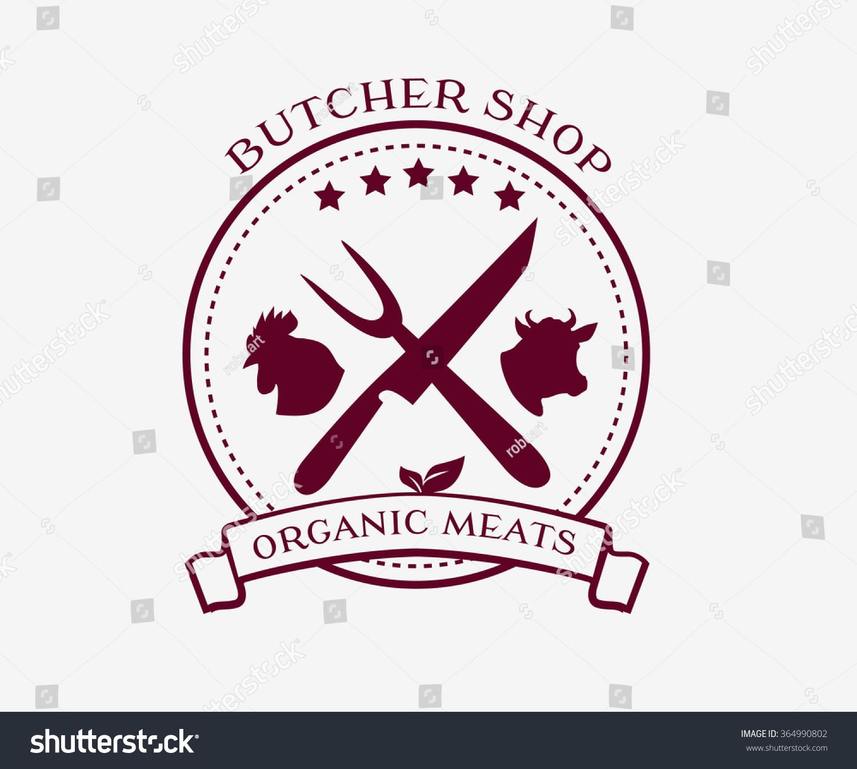Butcher Shop Logo Design Elements Labels Stock Vector ...