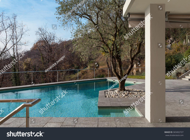 Architecture exterior modern building pool detail stock for Bauhaus swimmingpool