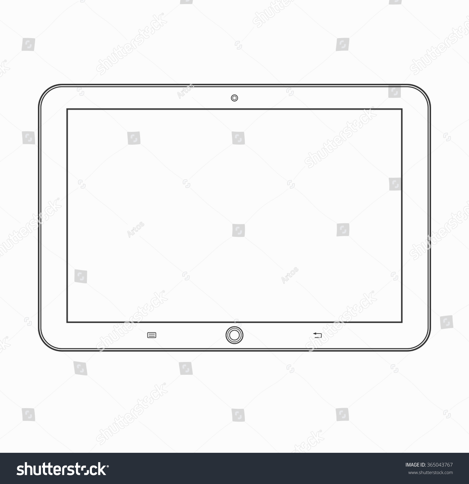 Tablet Computer Outline Icon Modern Vector Stock Vector 365043767 ...