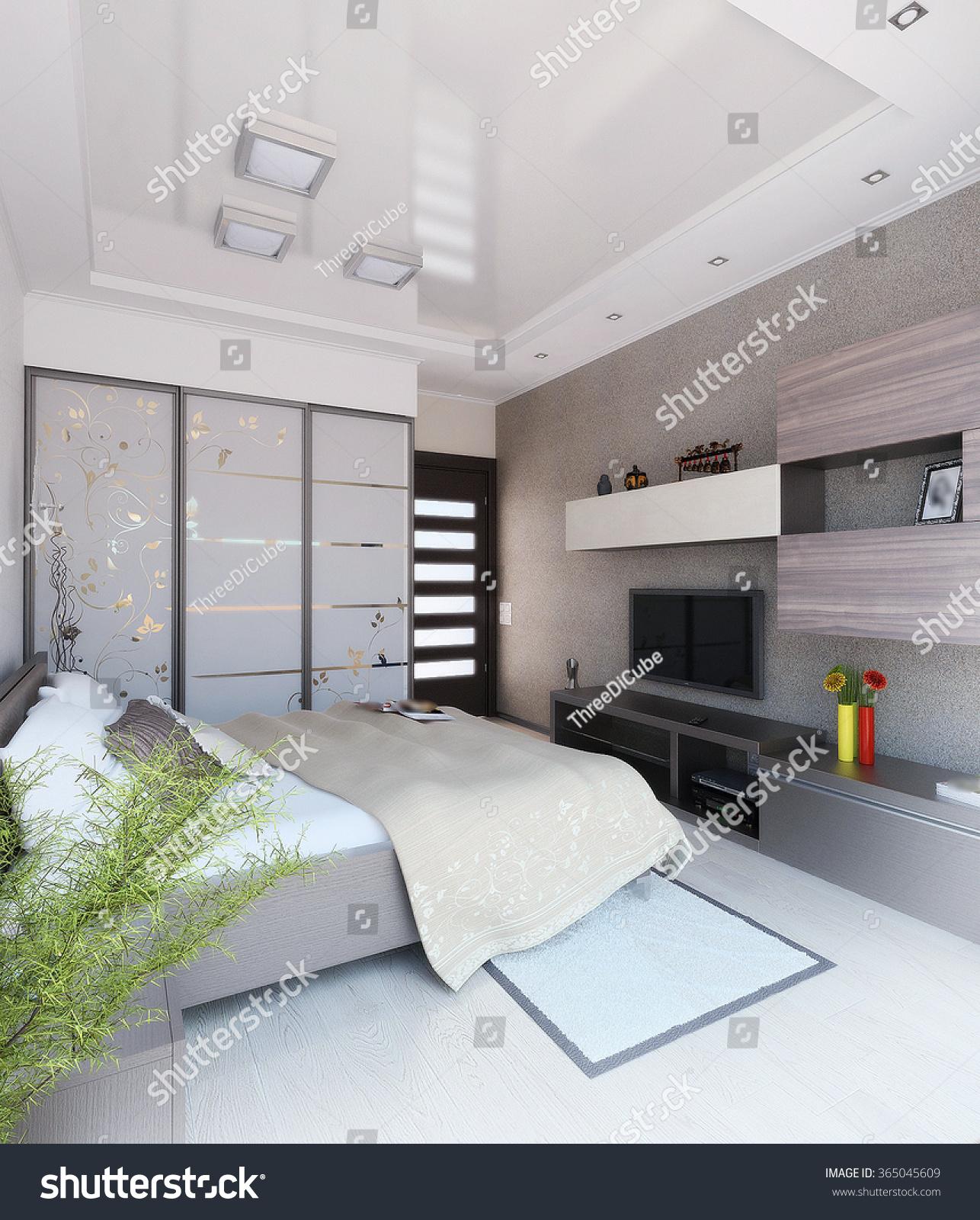 Modern Bedroom Interior Design, 3d Render Stock Photo