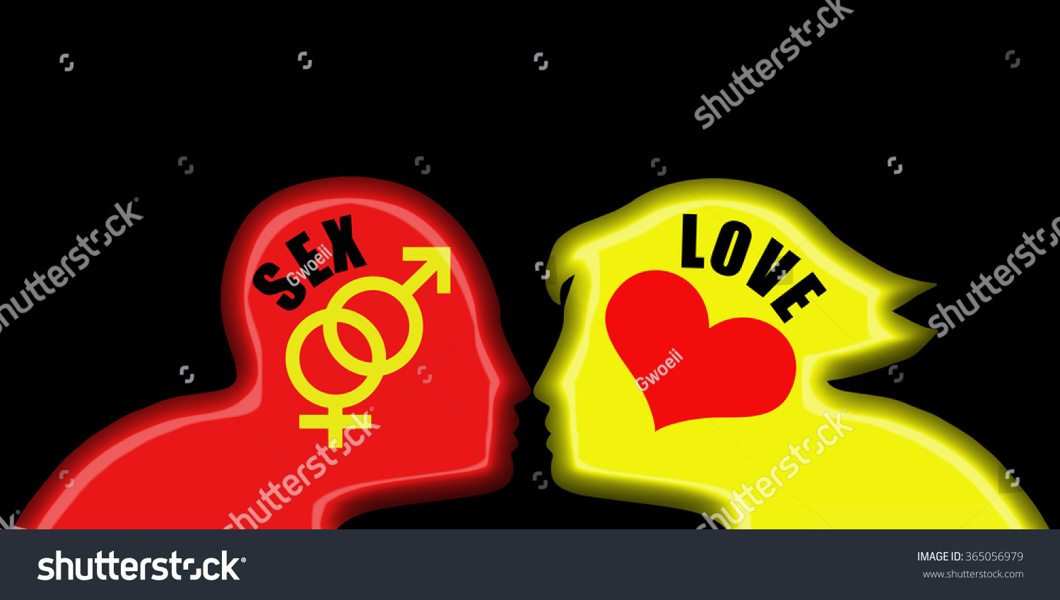 Silhouette outline red man yellow woman stock illustration silhouette outline of a red man and yellow woman head with sex and love symbol for biocorpaavc