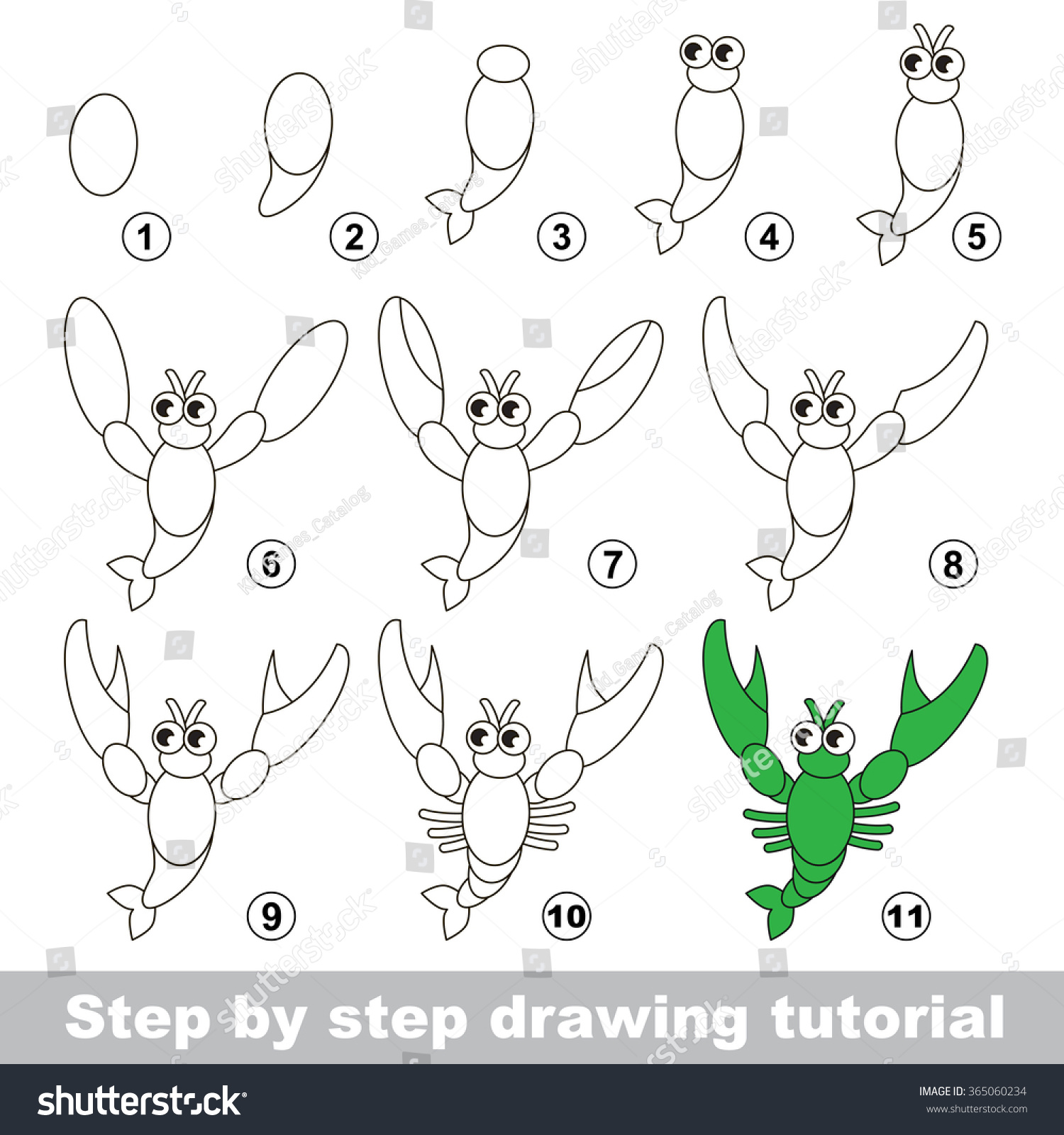 how to draw a cartoon crawfish step by step