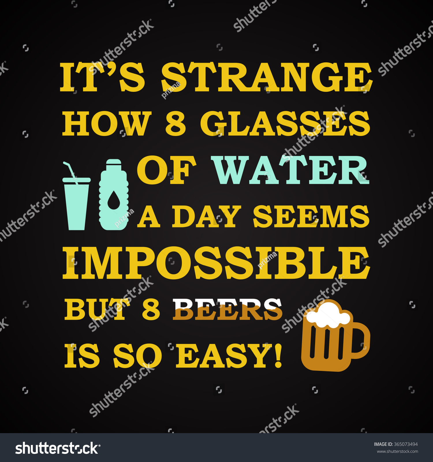 Water Funny Pictures Stock Vector Water And Beer Funny Inscription Template