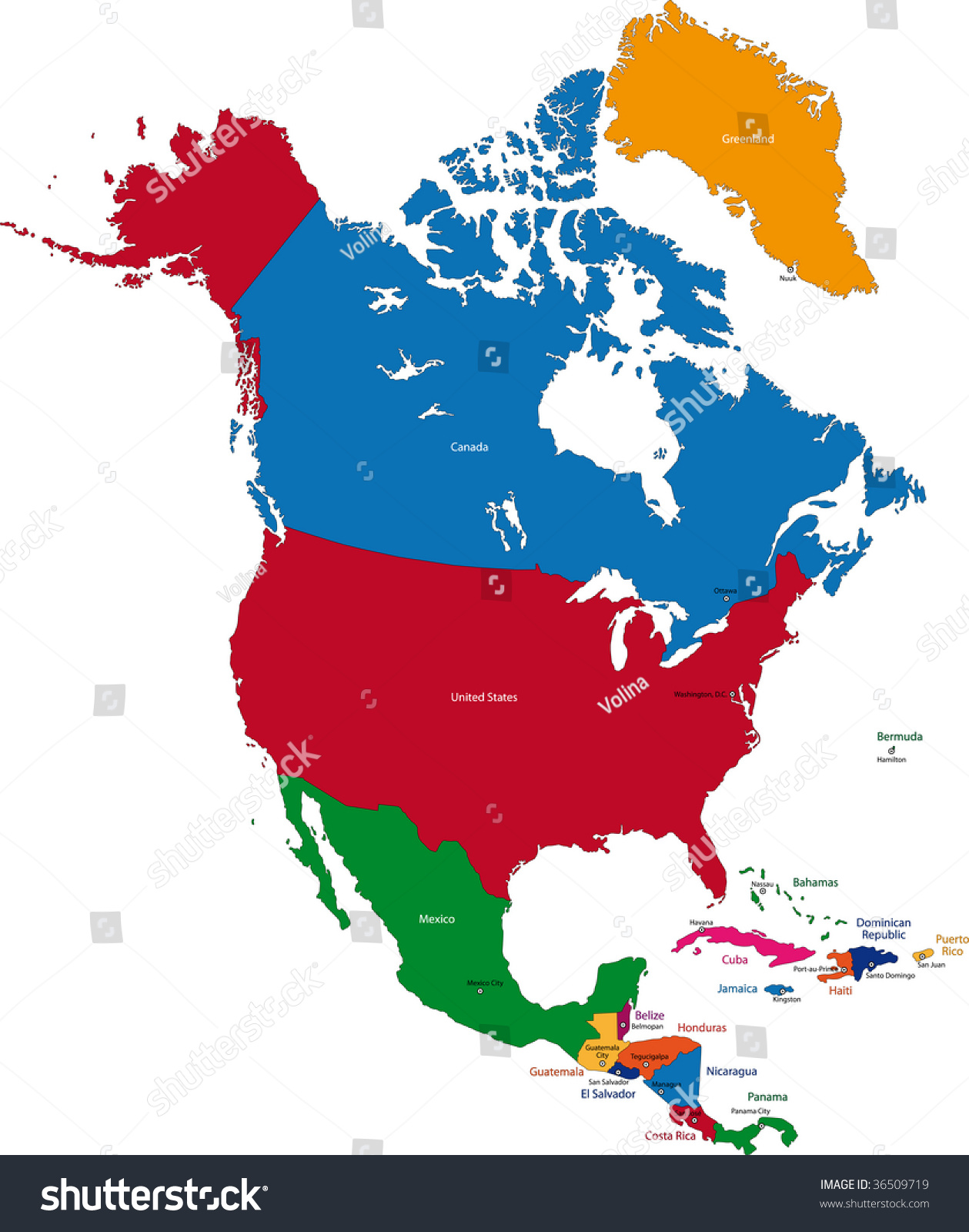 Colorful North America Map Countries Capital Stock Illustration