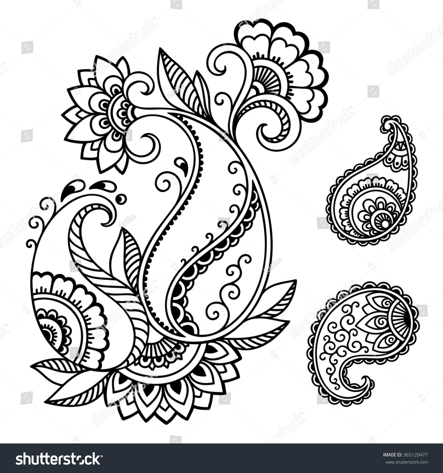 Henna Tattoo Flower Template In Indian Style: Henna Tattoo Flower Templatemehndi Stock Vector 365120477