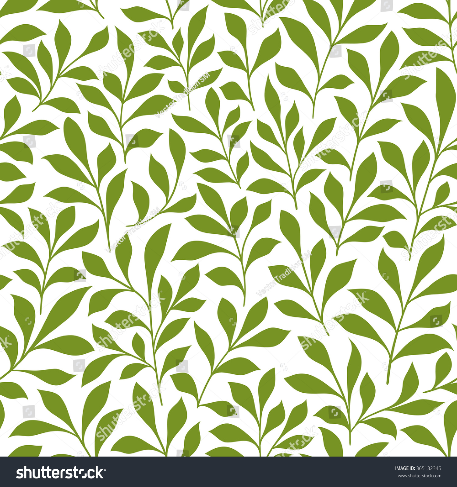 Spring Leaves Seamless Pattern Of Green Twigs With Over White Background Retro Wallpaper