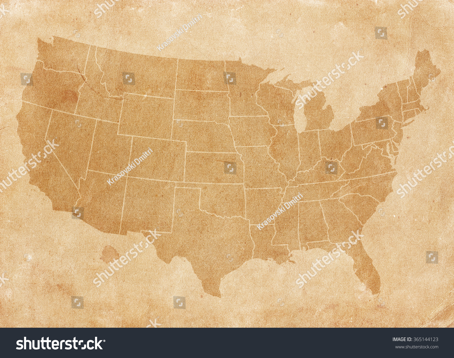 Usa Map On Brown Paper Vintage Stock Photo Shutterstock - Usa map vintage
