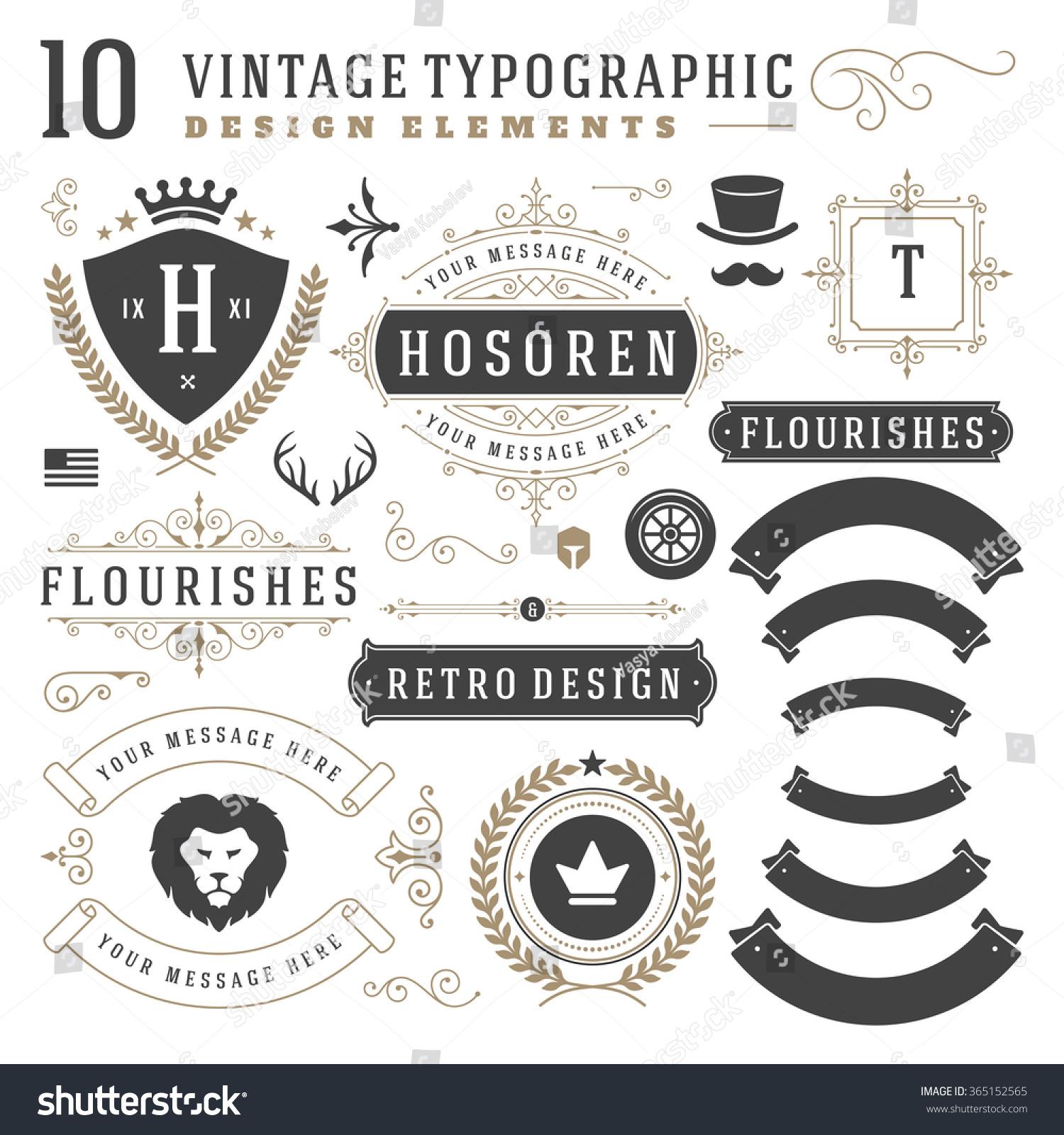 Vintage Design Elements Arrows Retro Typography Stock