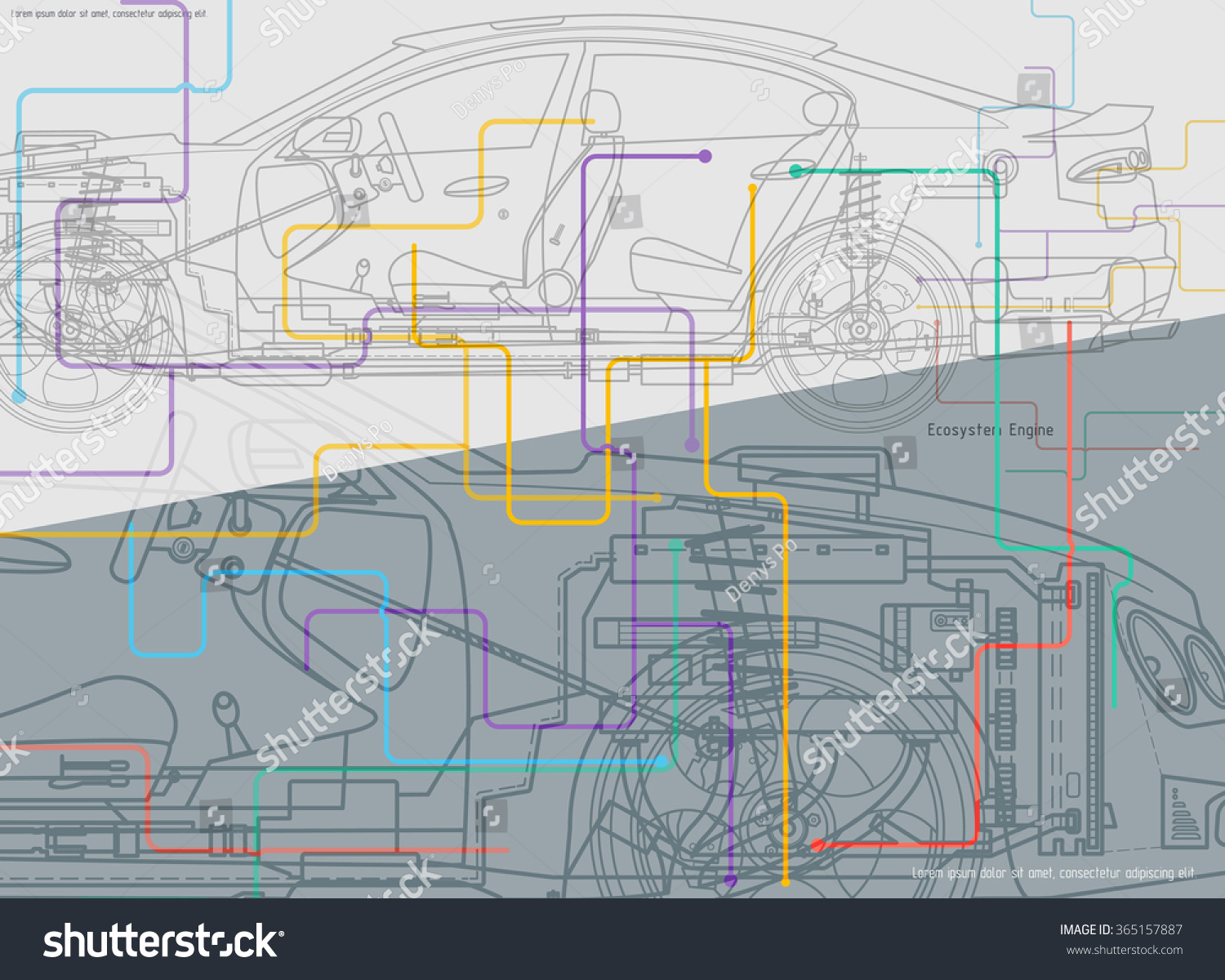 Abstract Technical Car Drawing Background Stock Vector (Royalty Free ...