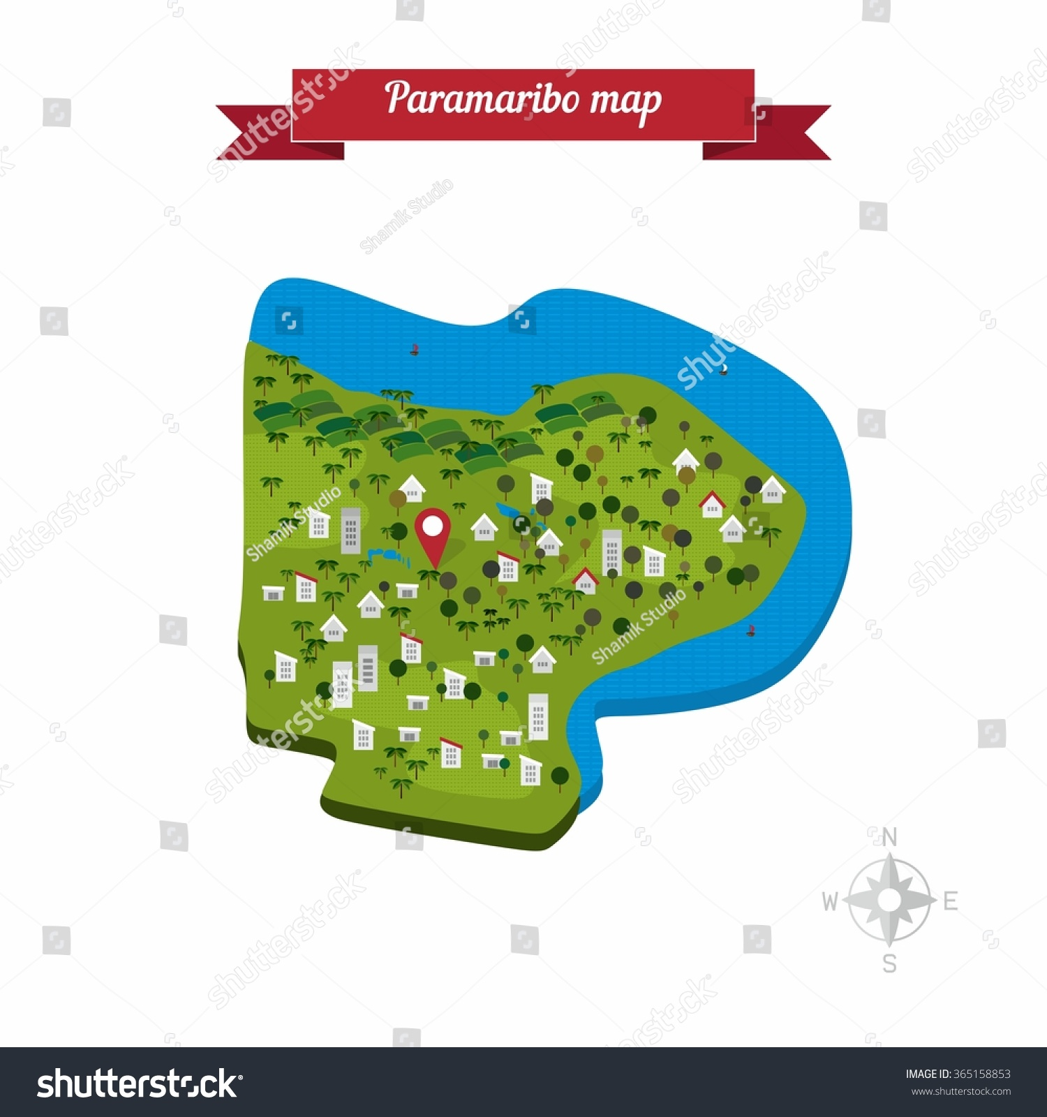 Paramaribo Surinam Map Flat Style Design Stock Vector - paramaribo map