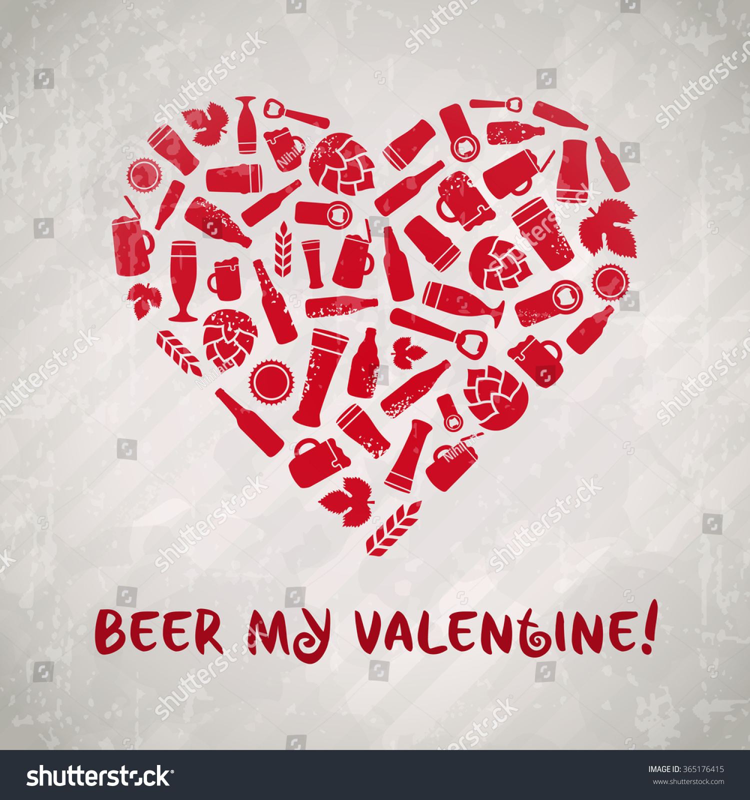 beer my valentine valentines day craft beer poster pink heart composed of bottles