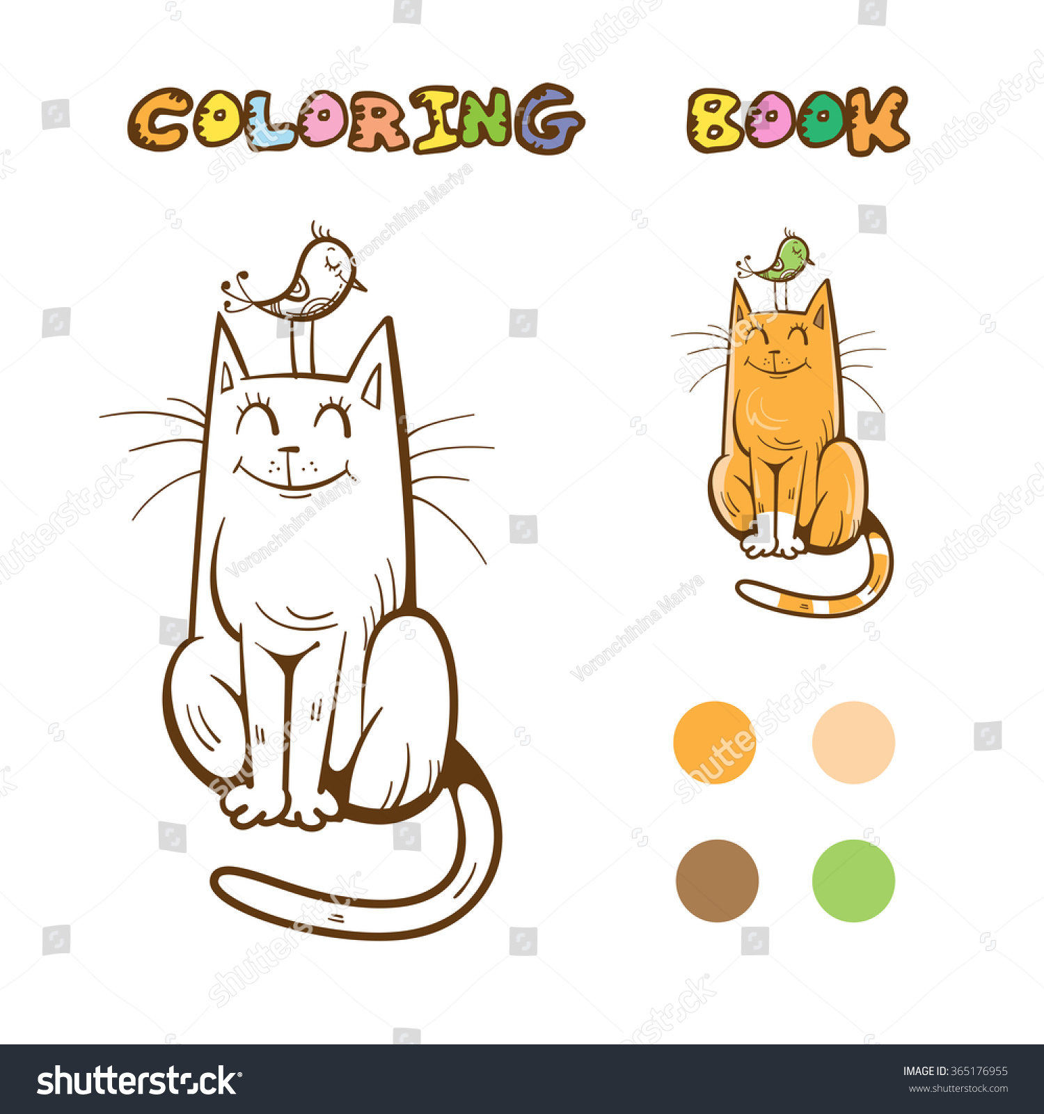 Coloring Book With Cute Cartoon Cat And Bird Vector Image