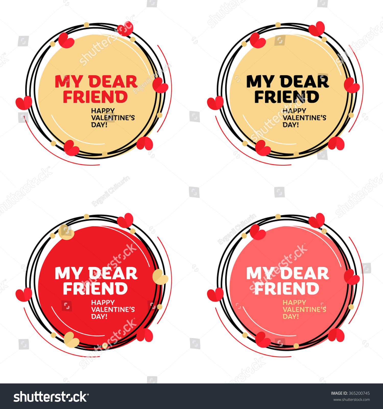 My Dear Friend Happy Valentines Day Illustrations Greeting Card Template With Typographic Vector