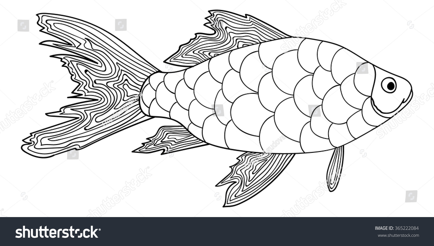 detailed ornamental sketch fish hand drawn stock vector 365222084