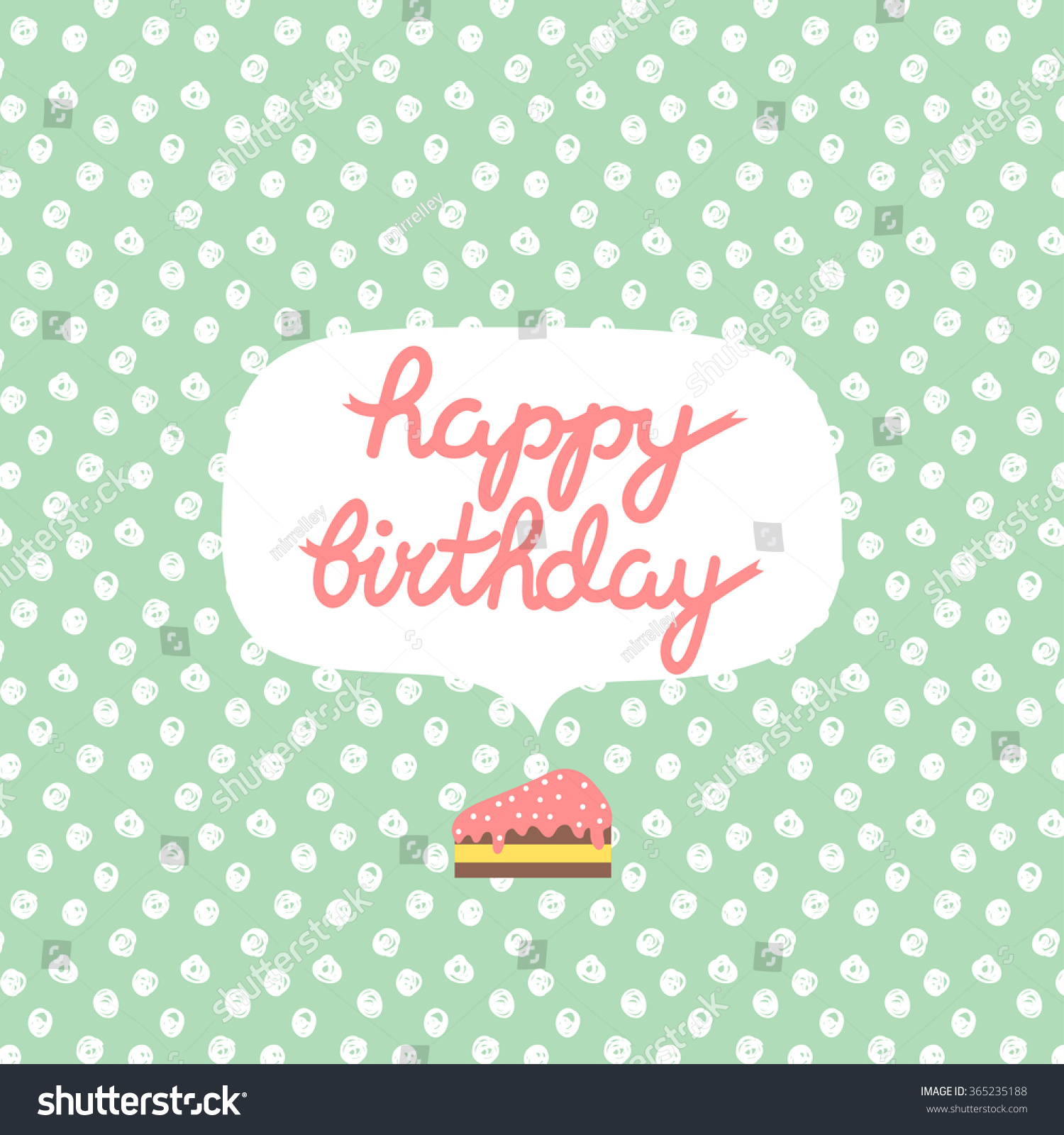 Poster happy birthday text message on stock vector royalty free poster with happy birthday text message on pastel green polka dots background with slice of cake m4hsunfo