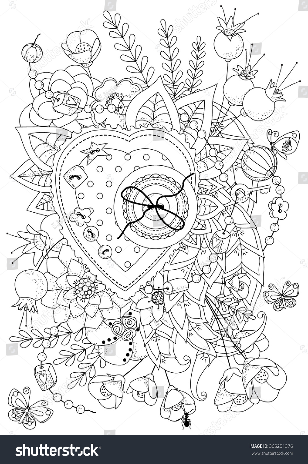 stock vector coloring book for adult and older children vector illustration coloring page valentine s day