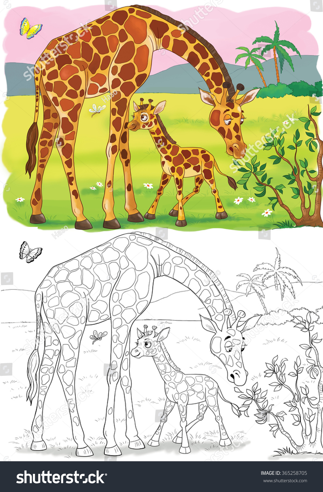 zoo animals africa giraffes cute mother stock illustration