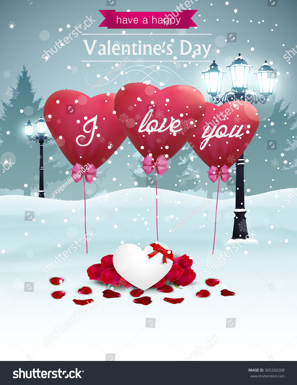Beautiful Valentines Day Card Width Street Vector 365260268 – Beautiful Valentines Day Cards