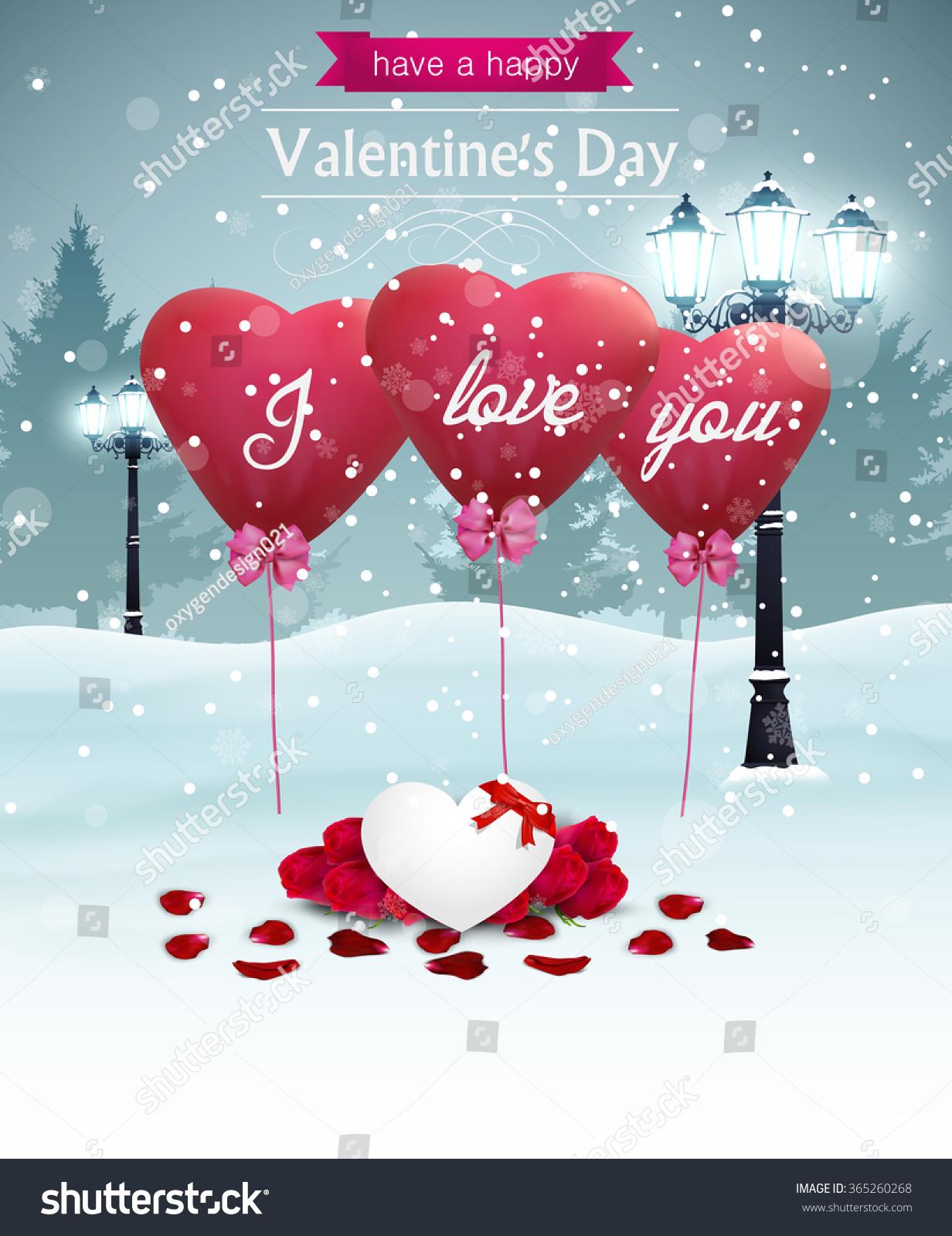 Beautiful Valentines Day Card Width Street Vector 365260268 – Beautiful Valentines Day Cards