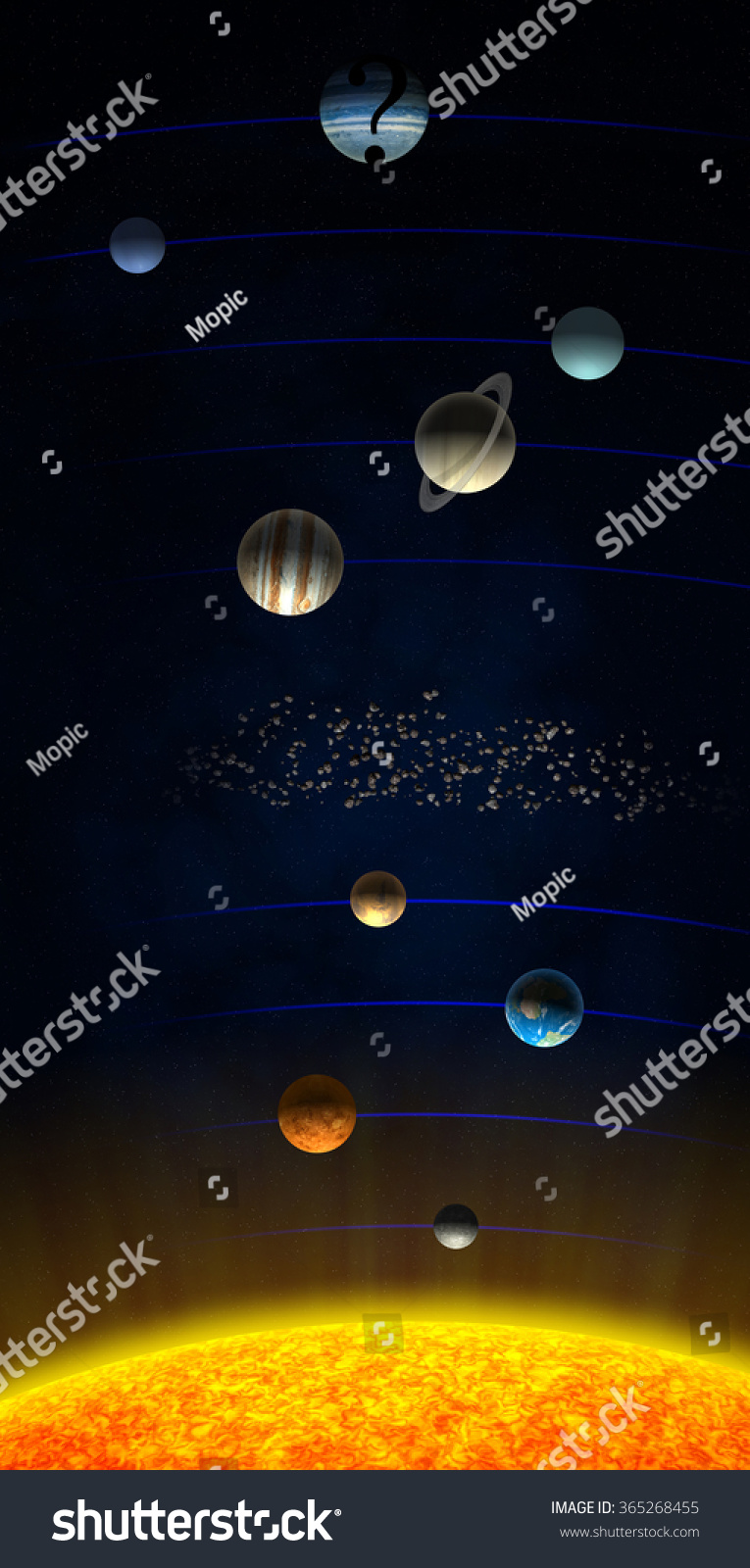 Solar system shown with the theorized ninth Planet X