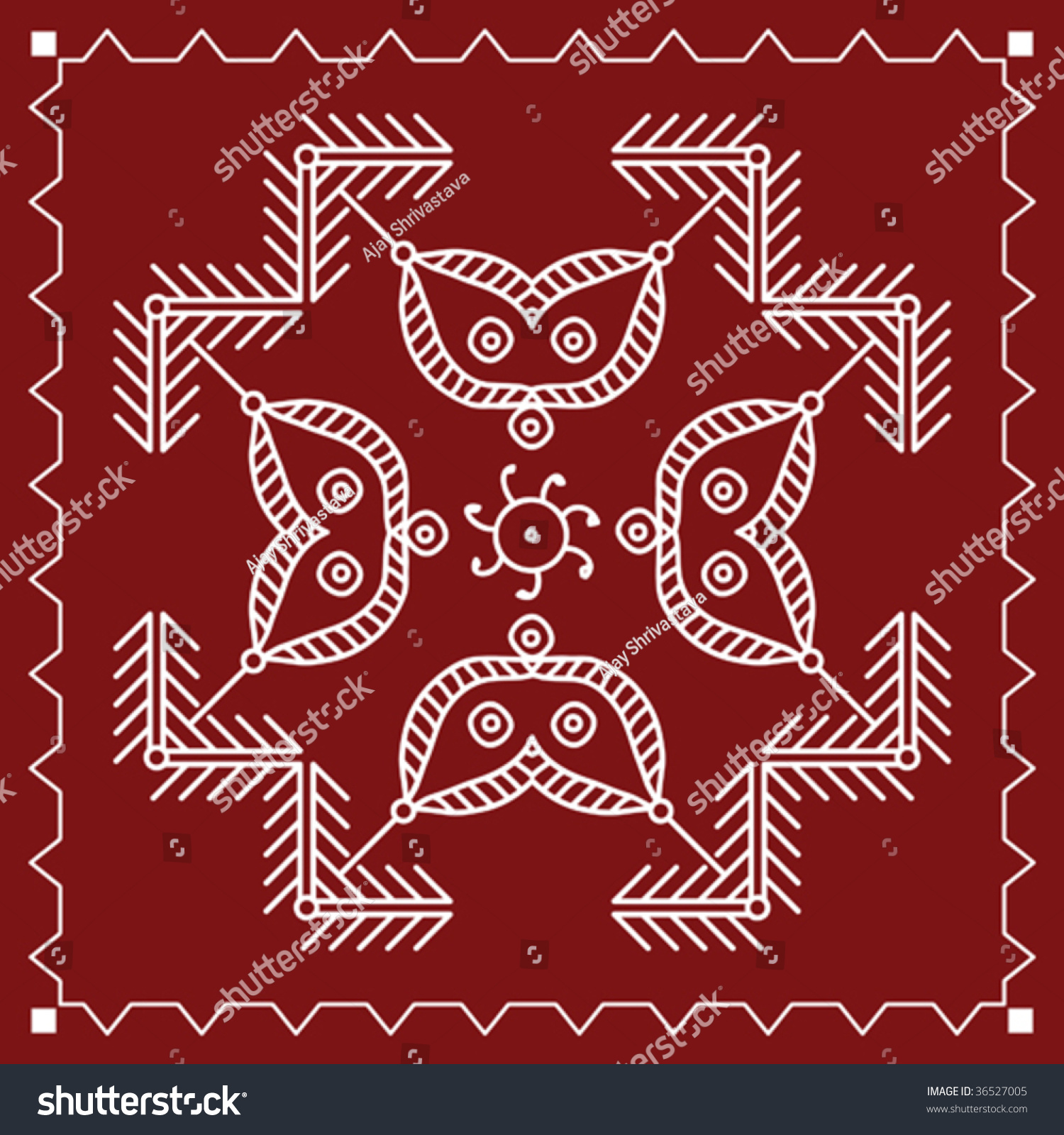 folk tribal designs motif wall painting stock vector illustration 36527005 shutterstock. Black Bedroom Furniture Sets. Home Design Ideas