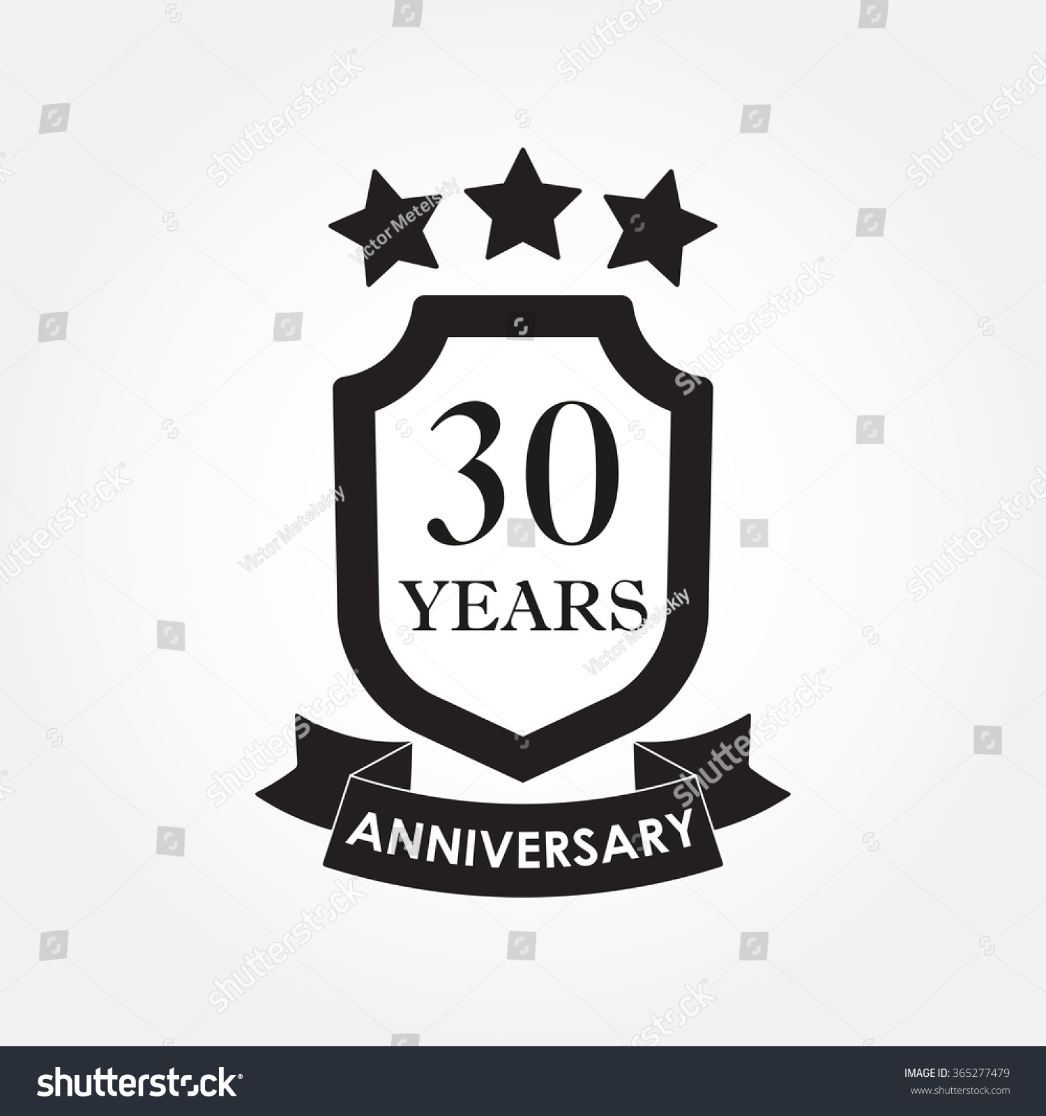 30 Years Anniversary Icon Emblem 30th Stock Vector Royalty Free