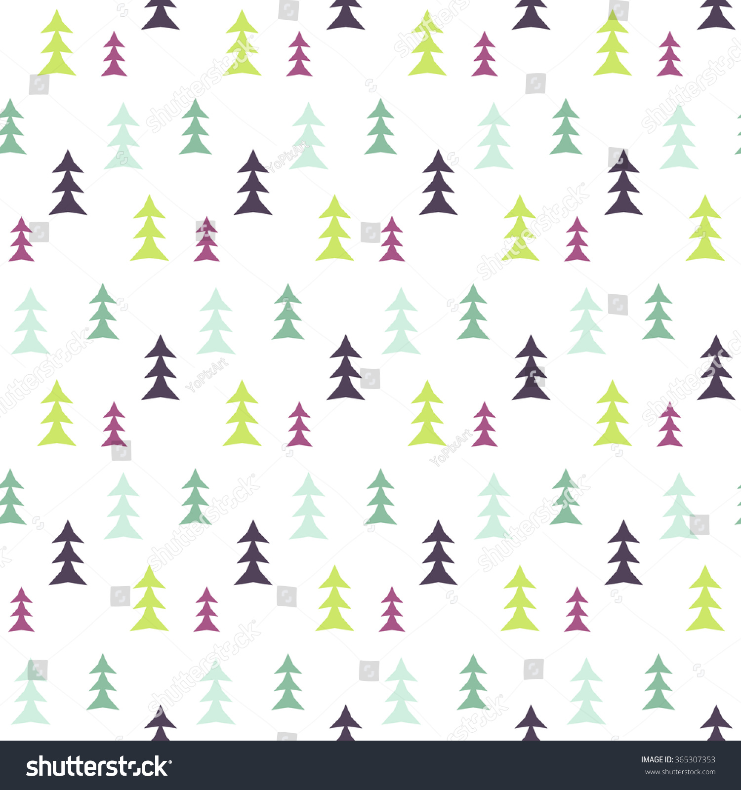 Seamless fir tree scandinavian pattern textile background wrapping - Abstract Multicolor Pine Forest Seamless Pattern Vector Tree Background Textile Fabric Print Scandinavian Simple