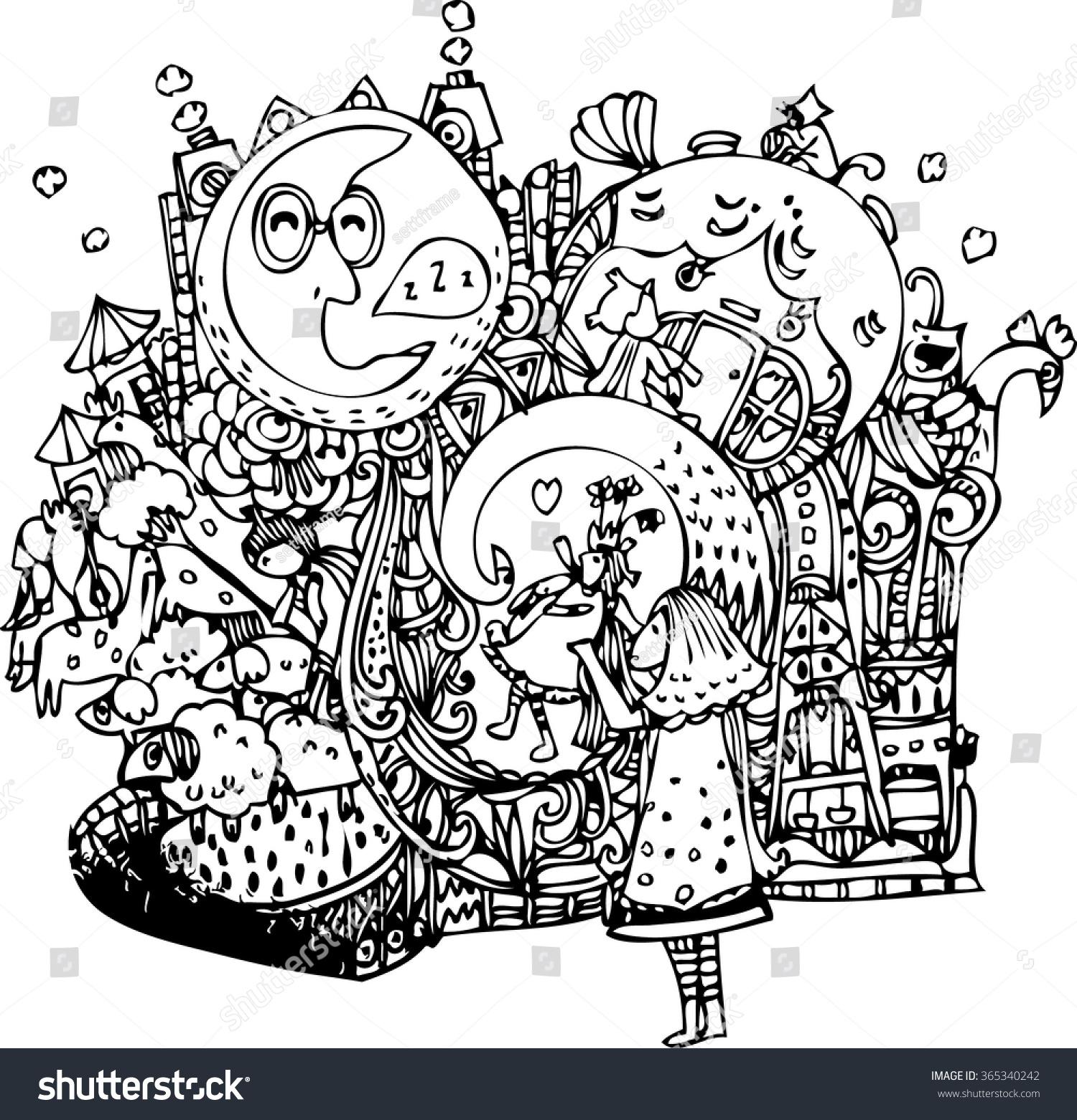 hand draw imagination cartoon line art stock photo photo vector