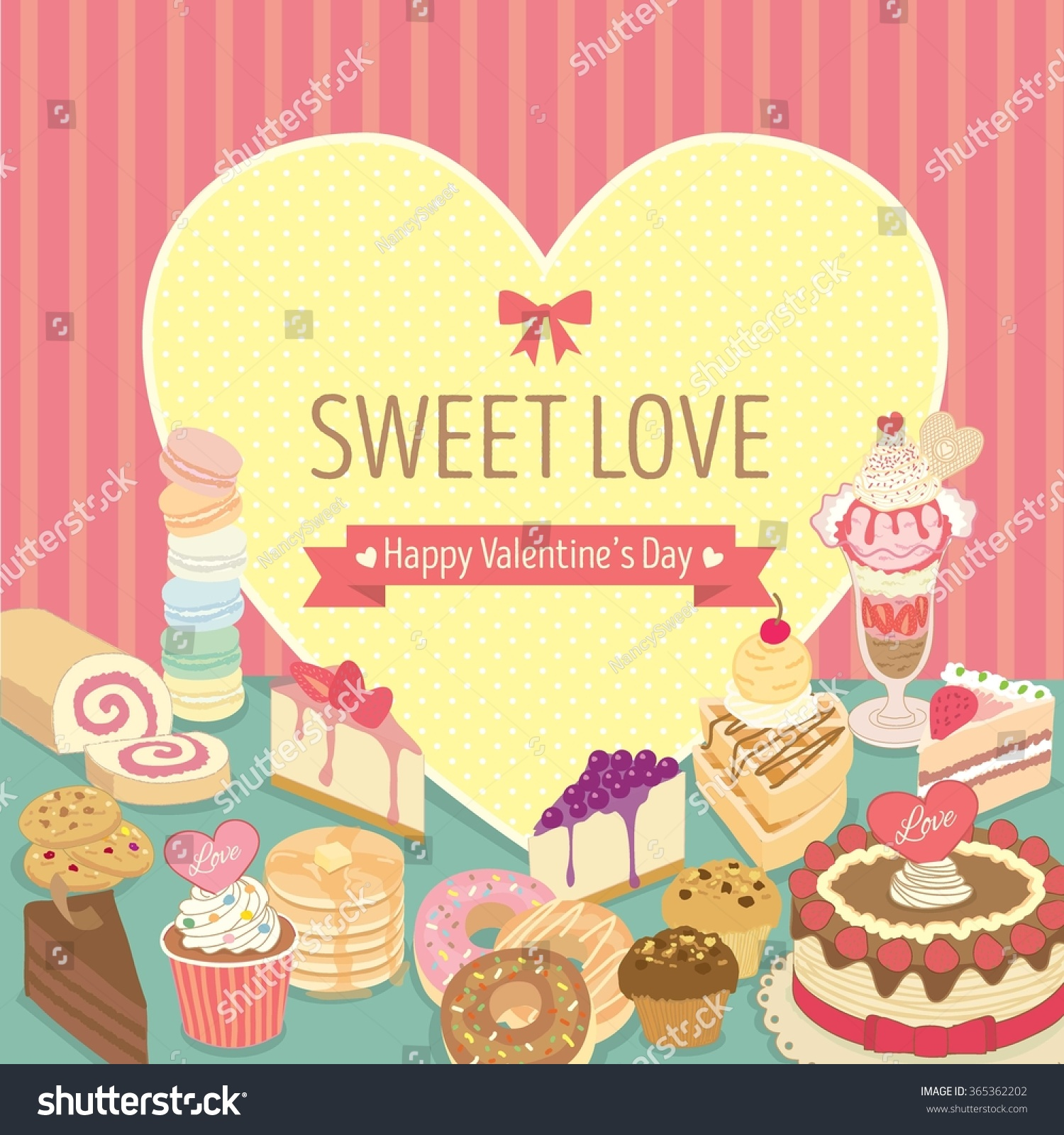 vector lover dessert valentines daybakery cafe stock vector