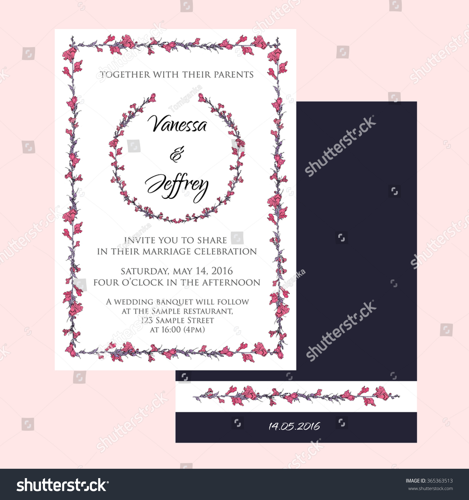 Wedding Invitation Cards Decorated Hand Drawn Stock Vector