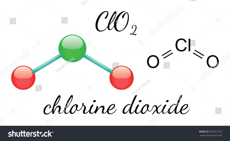 Cl O 2 Chlorine Dioxide 3 D Molecule Isolated Stock Vector Royalty