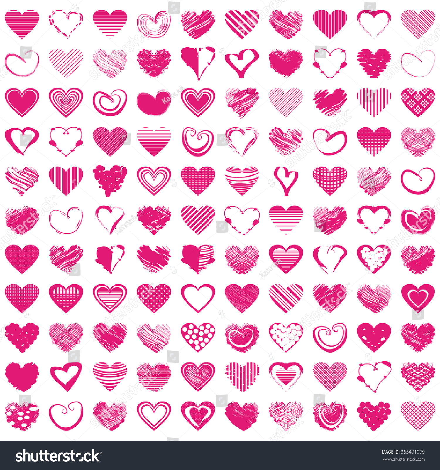 100 handdrawn romantic hearts vector illustration stock vector vector illustration for cute design pretty symbol for biocorpaavc Choice Image
