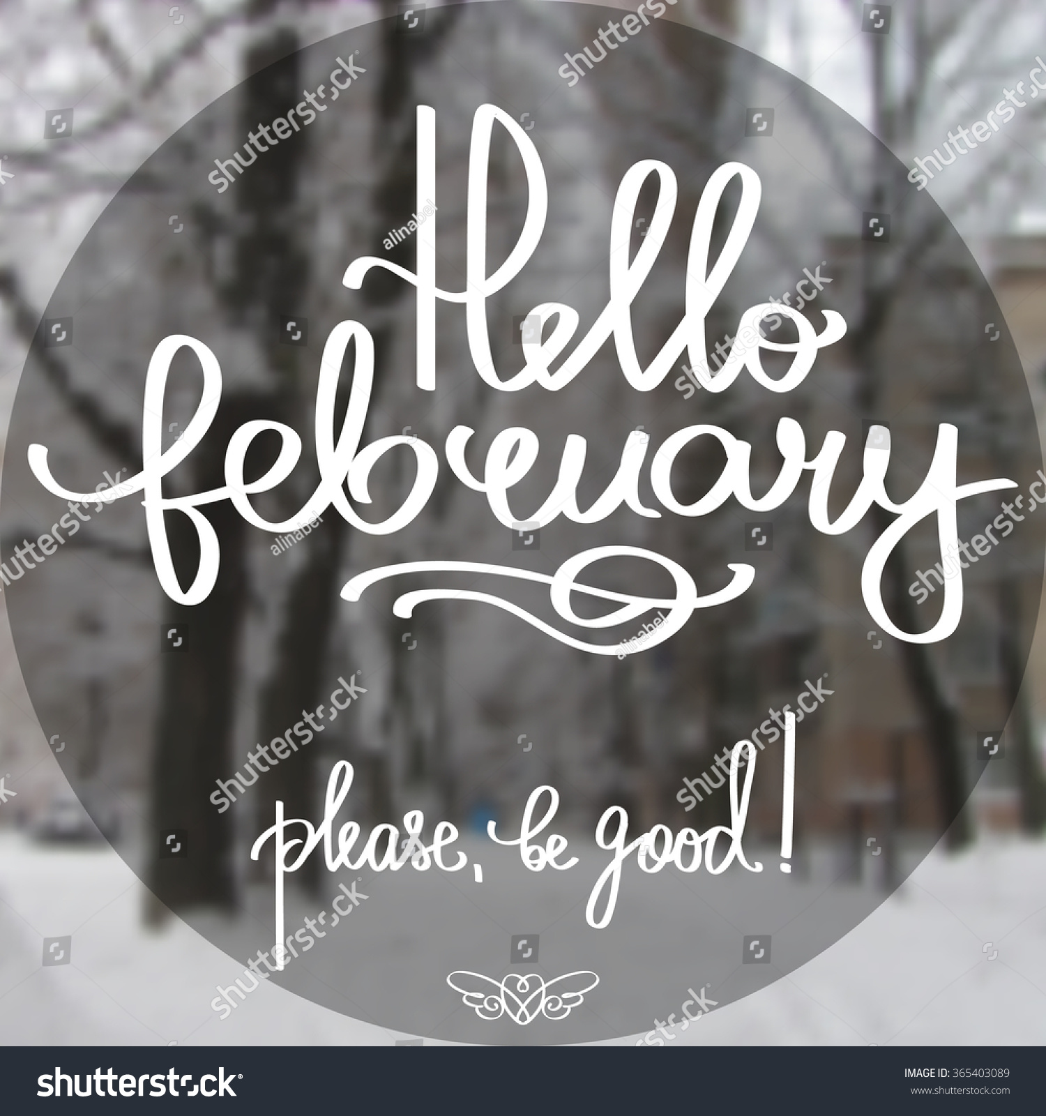 Handmade calligraphy text hello february poster stock