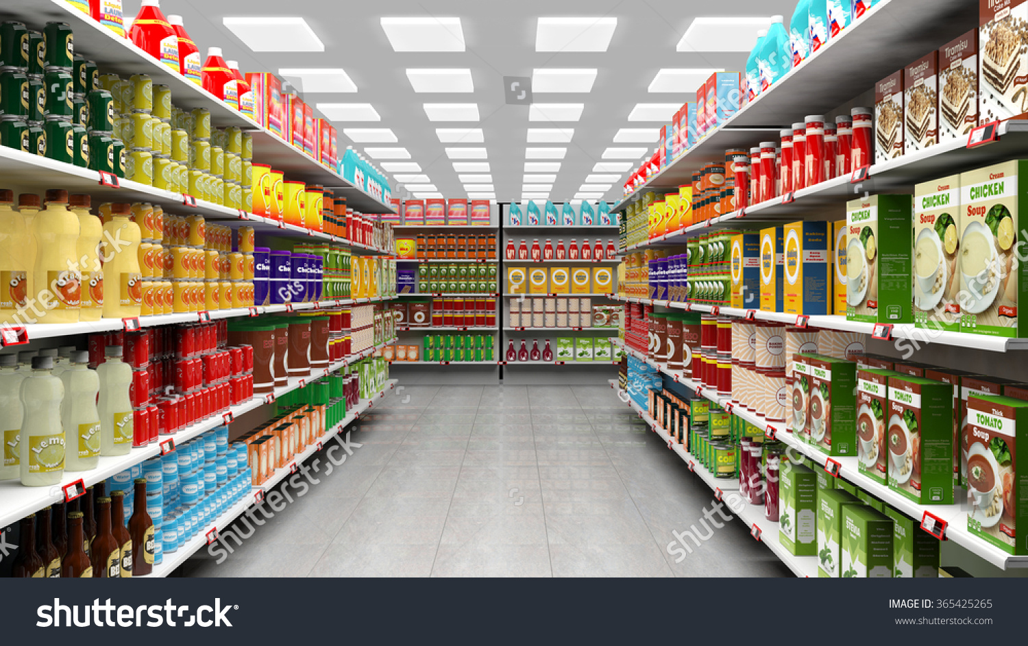supermarket interior shelves full various products stock illustration 365425265 shutterstock. Black Bedroom Furniture Sets. Home Design Ideas