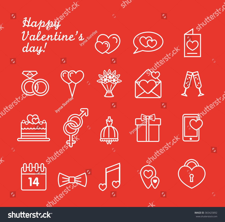 St Valentines Day Line Icon Set Stock Vector             Shutterstock St  Valentine     s day line icon set  Love  wedding or dating romantic symbols