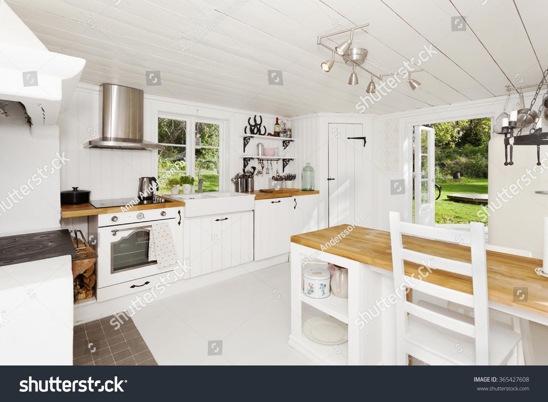 Kitchen Interior Open Door Out Garden Stock Photo (Edit Now ...