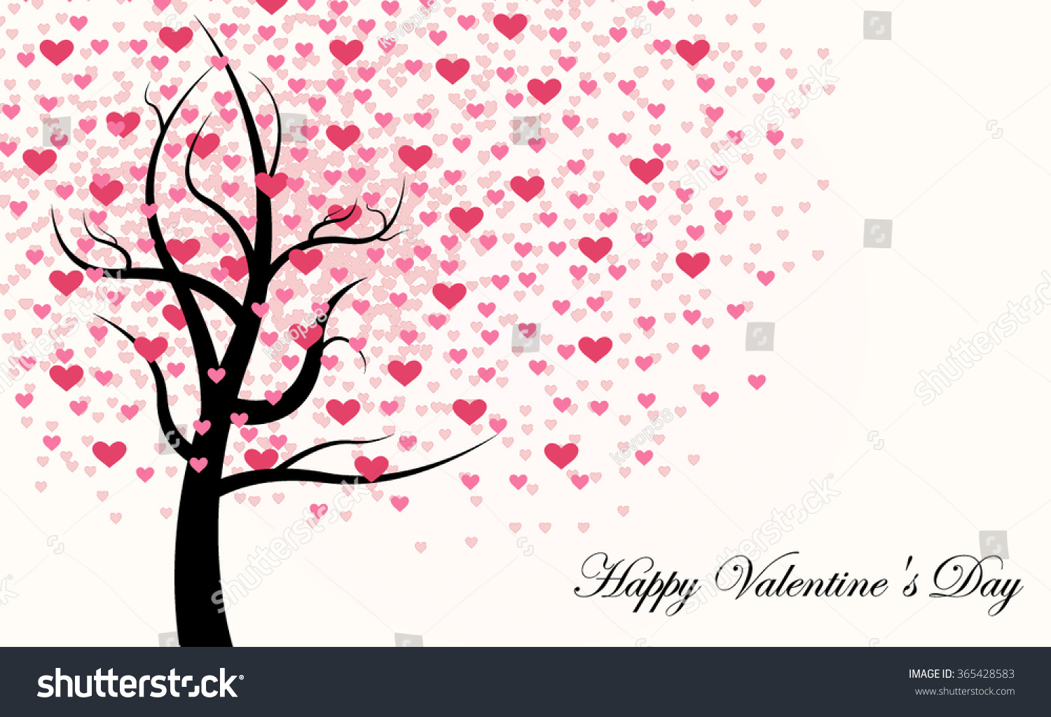 Happy Valentines Day Tree Made Red Stock Vector Royalty Free
