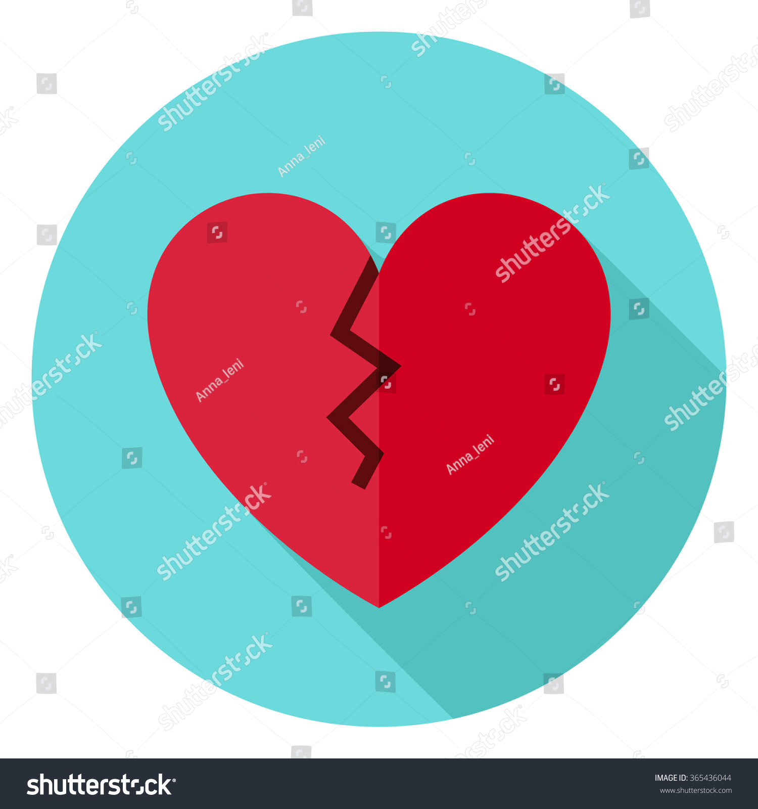 Broken Heart Circle Icon Flat Design Vector Illustration With Long Shadow Happy Valentine Day